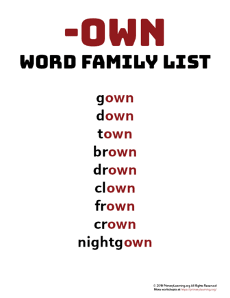 own word family list