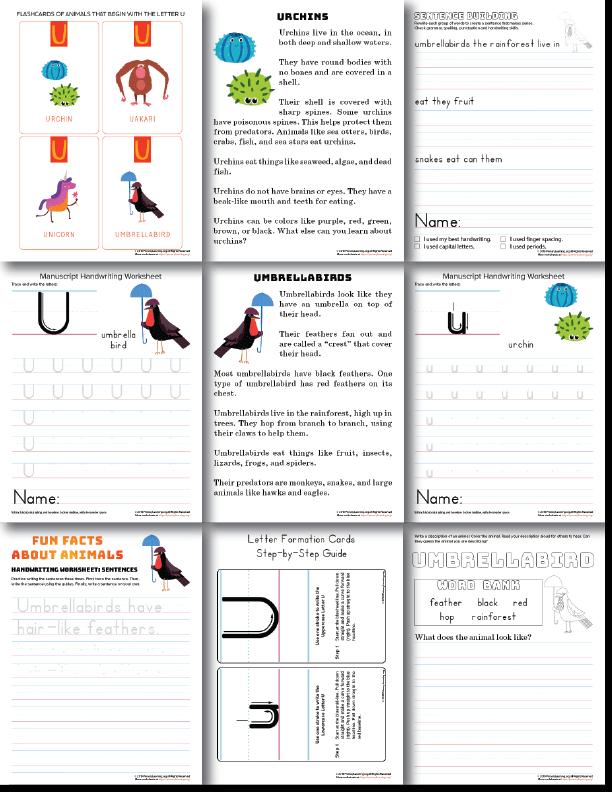 letter u handwriting practice