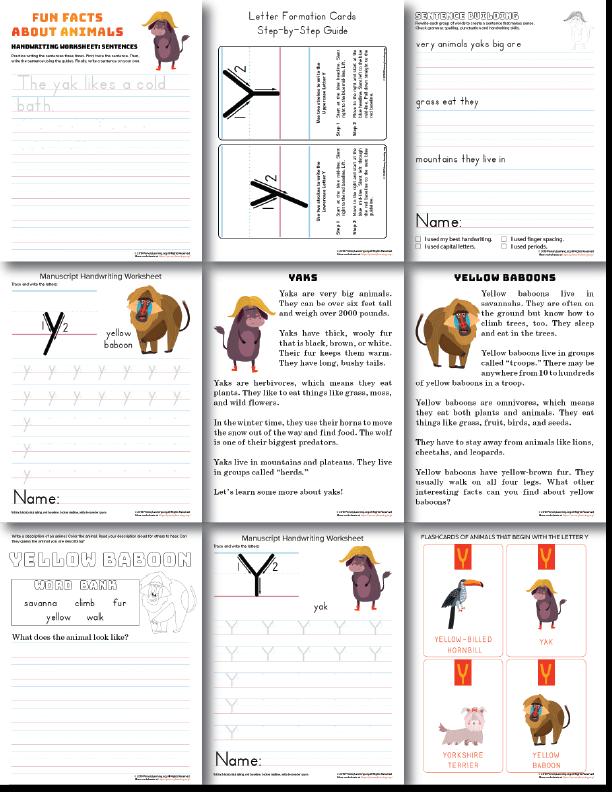 letter y handwriting practice