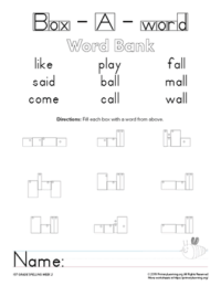 1st grade spelling unit 2