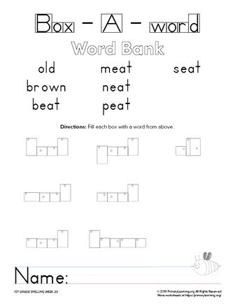 1st grade spelling unit 20
