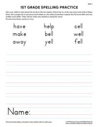 1st grade spelling practice unit 5