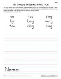 1st grade spelling practice unit 9