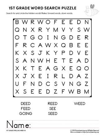 1st grade word search unit 18