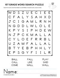 1st grade word search unit 2