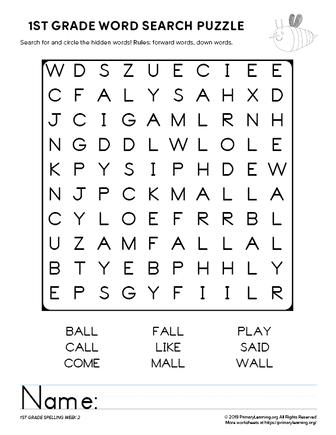 1st grade word search unit 2