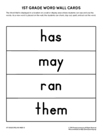 1st grade spelling words unit 13