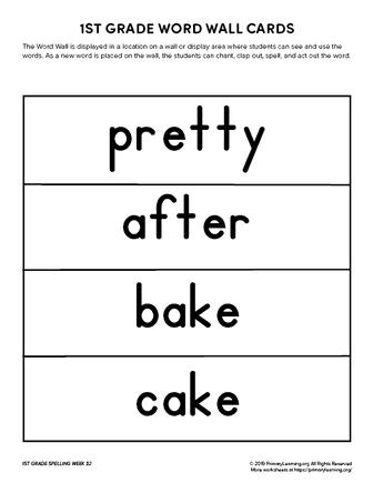 1st grade spelling words unit 22