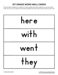 1st grade spelling words unit 3