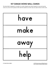 1st grade spelling words unit 5