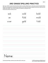2nd grade spelling practice unit 5
