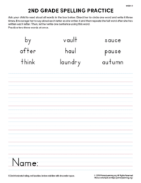 2nd grade spelling practice unit 9