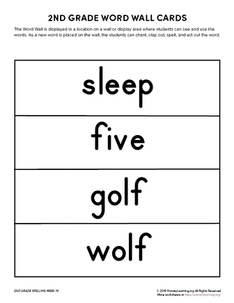 2nd grade spelling words unit 19