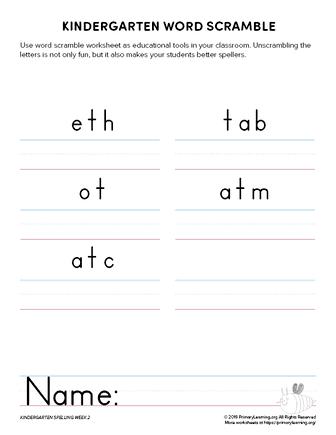 kindergarten spelling games unit 2