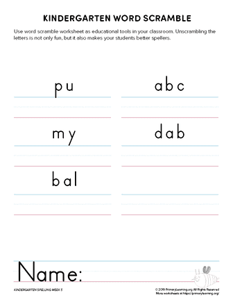 kindergarten spelling games unit 5