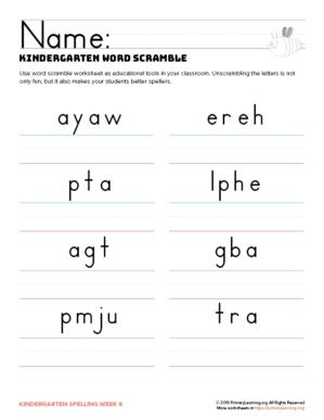 kindergarten spelling games unit 8