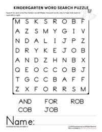 kindergarten word search unit 13