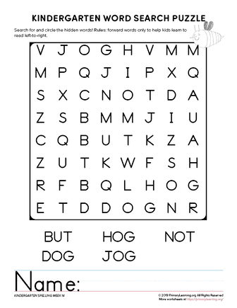 kindergarten word search unit 14
