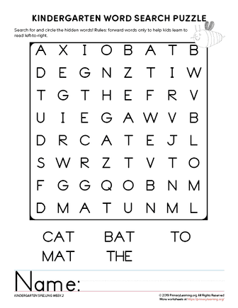 kindergarten word search unit 2