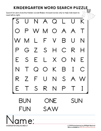 kindergarten word search unit 21