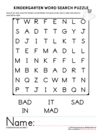 kindergarten word search unit 3