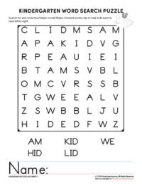 kindergarten word search unit 7