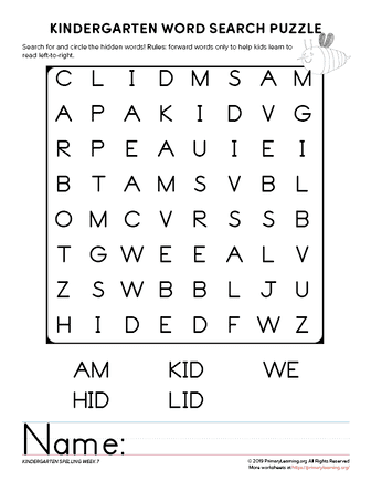 kindergarten word search unit 7