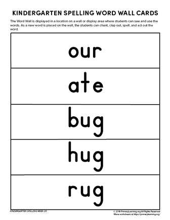 kindergarten spelling words unit 20