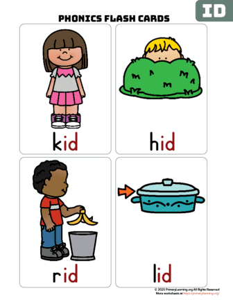 id word family flash cards