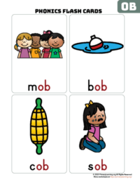 ob word family flash cards