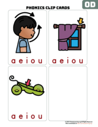 od word family clip cards