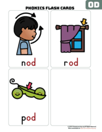 od word family flash cards