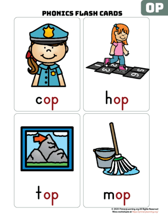 op word family flash cards