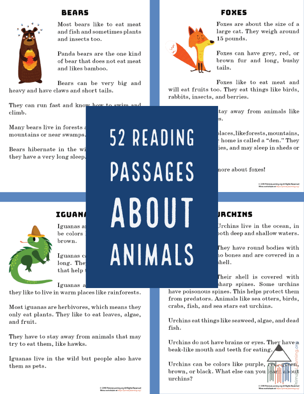 FREE Reading Passages About Animals - Homeschool Giveaways
