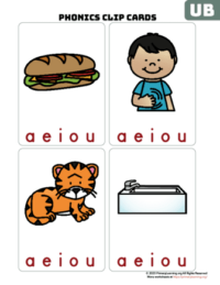 ub word family clip cards