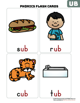 ub word family flash cards