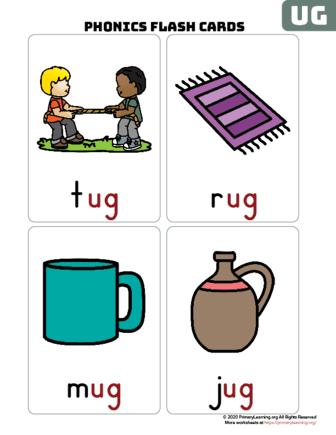 ug word family flash cards