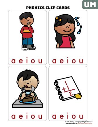 um word family clip cards