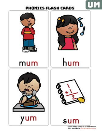 um word family flash cards