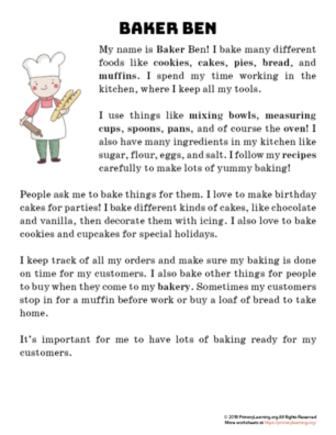 baker reading passage