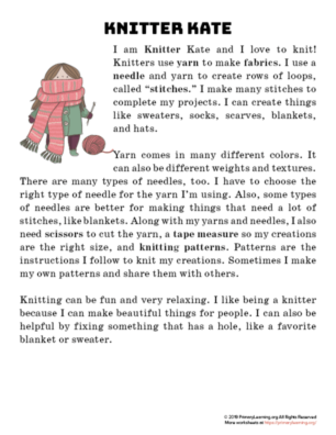 knitter reading passage