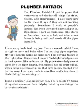 plumber reading passage