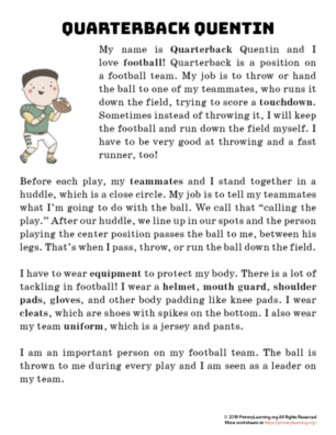 quarterback reading passage
