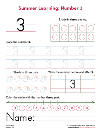 all about number 3 worksheet