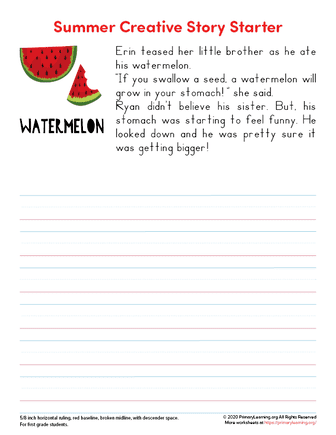 first grade summer writing prompts
