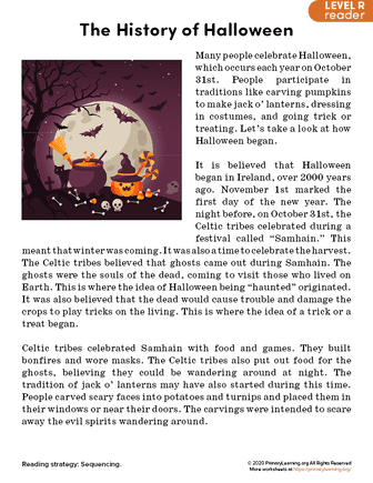 history of halloween reading passage